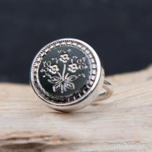 Antique Glass Button Ring R151