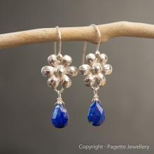 Lapis Lazuli Flower Earrings E102