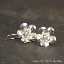 Flower Earrings set with Cubic Zirconia E113