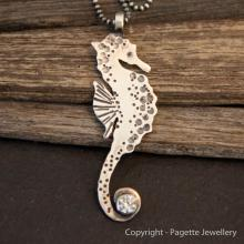 Seahorse with Cubic Zirconia N138