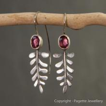 Garnet and Fern Earrings E120
