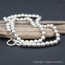 Solid Silver Bead Necklace N114