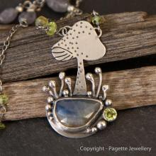 Mushroom necklace with Blue Sapphire N130
