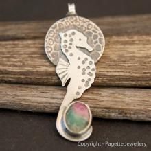 Seahorse with Fuchsite and Ruby N137